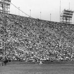 Los Angeles Dodgers erect a 42-foot screen at the Los Angeles Coliseum