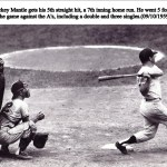 Mickey Mantlegoes 5 for 6, including a home run, in a 12 - 1 romp overKansas City'sRay Herbert.