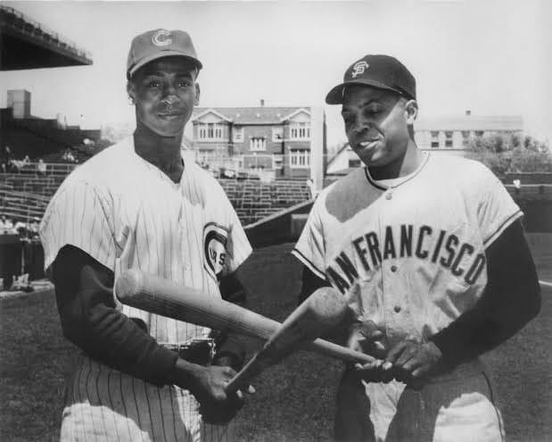 Giants legend Willie Mays (615) and Ernie Banks of the Cubs (504) both hit home runs making it the first time two big leaguers with 500 home runs do it in the same game.