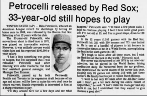InfielderRico Petrocelliis released by theBoston Red Soxafter a 13-season career for his only major league club