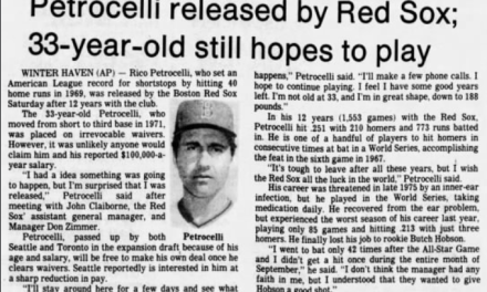 Infielder Rico Petrocelli is released by the Boston Red Sox after a 13-season career for his only major league club