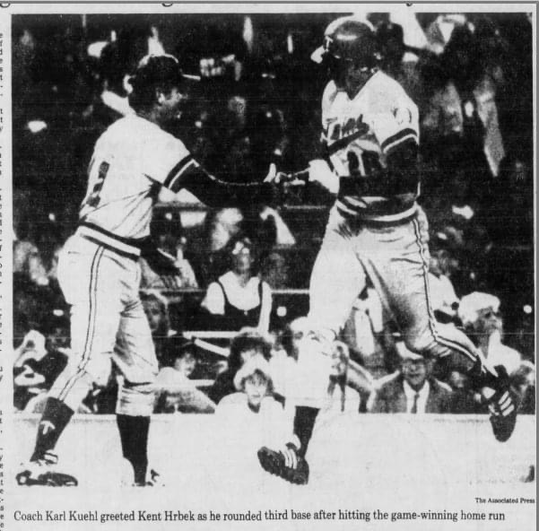 In his first major league game, first basemanKent Hrbekhits a twelfth-inning homer, giving theTwinsa 3 – 2 victory over theYankees.