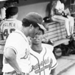 Ken Griffey of the Atlanta Braves swats three solo home runs against the Philadelphia Phillies
