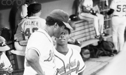 Ken Griffey of the Atlanta Braves swats three solo home runs against the Philadelphia Phillies