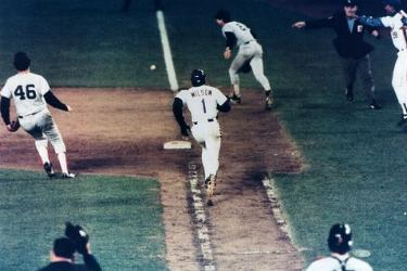 A little roller – Bill Buckner lets Mookie Wilson ball go between his legs