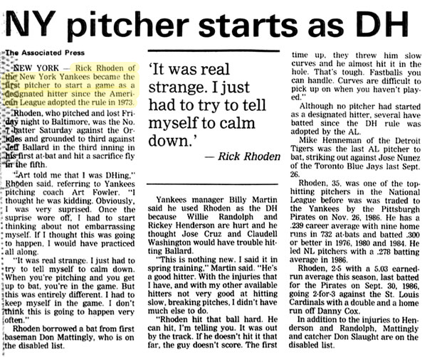 Rick Rhoden of the New York Yankees becomes the first pitcher to start a game as a designated hitter
