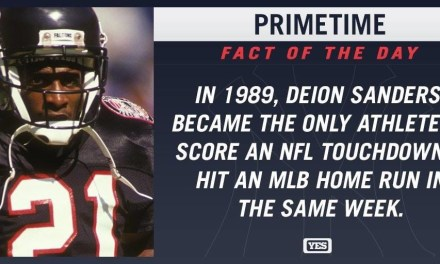 Deion Sanders, the fifth player selected overall in the 1989 NFL Draft, hits a home run as the Bronx Bombers rout the Mariners at the Kingdome, 12-2. Five days later in his NFL debut with the Atlanta Falcons, the Yankee rookie returns a punt 68 yards for a touchdown.