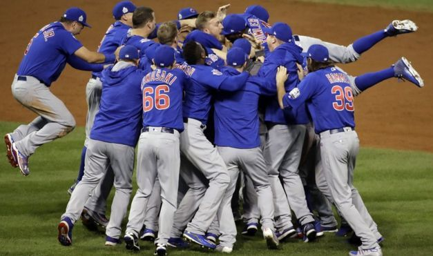 The Cubs win their first World Series title in 108 years