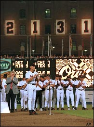 Cal Ripken, Jr. of the Baltimore Orioles breaks the world record for the most consecutive games played