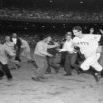 Bobby Thomson Running Past Ecstatic Fans