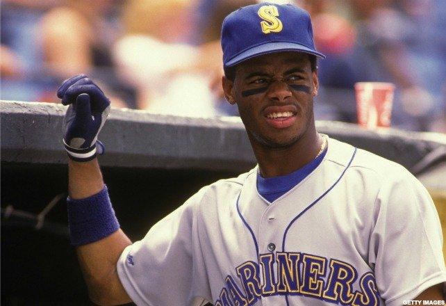 In his first major league at bat, Mariners' center fielder Ken Griffey Jr. doubles off of Oakland's Dave Stewart
