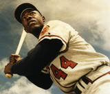 Hank Aaron of the Atlanta Braves belts the first home run in Cincinnati's new ballpark