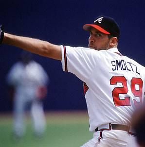 John Smoltz strikes out Felipe Lopez of the Washington Nationals for his 3,000th career strikeout