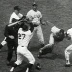San Francisco Giants ace Juan Marichal hits Los Angeles Dodgers catcher John Roseboro over the head with a bat.