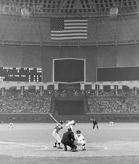 Mickey Mantle hits the first home run in the history of the Astrodome