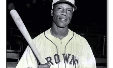 "Hank Thompson and right fielder Willard ""Home Run"" Brown play for the St. Louis Browns"