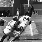 New York Giants rookie Willie Mays collects his first major league hit - Homerun