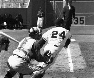 New York Giants rookie Willie Mays collects his first major league hit – Homerun