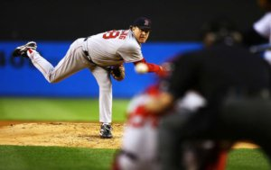 Curt Schilling comes within one out of throwing his first no-hitter