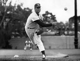 Brooklyn Dodgers right-hander Don Drysdale pitches the first shutout of his brilliant career