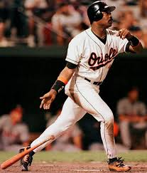 Eddie Murray of the Baltimore Orioles hits his 500th career home run