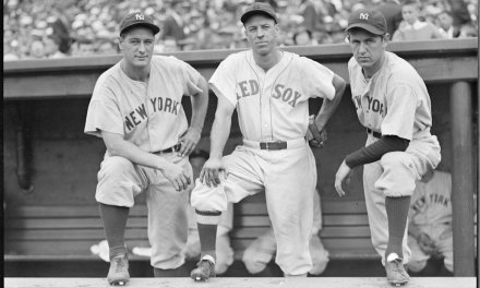 Joe DiMaggio catches a sinking line drive off his shoetops to rob his brother Dom of hitting streak