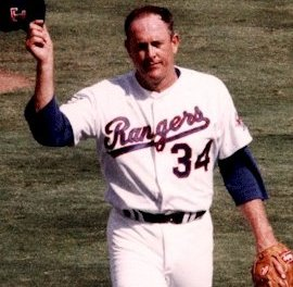 Nolan Ryan of the Texas Rangers makes his final major league appearance