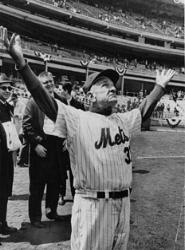 New York Mets manager Casey Stengel falls and breaks his hip after attending the Mets' Old-Timers' dinner