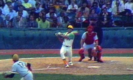 Reggie Jackson of the Oakland A's hits one of the most memorable home runs in All-Star Game history