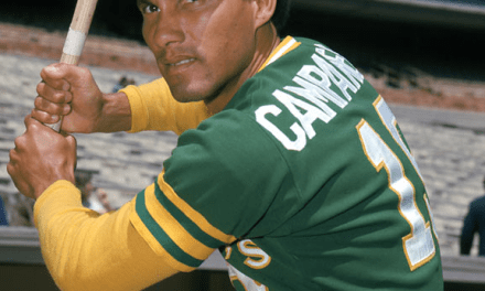 Bert Campaneris pitches both lefthanded and righthanded during a relief appearance
