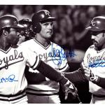George Brett, Hal McRae & Willie Mays Aiken Autographed 6.5x10 Photo Kansas City Royals #AB05631 - PSA/DNA Certified