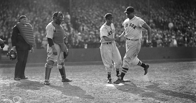 Boston Red Sox slugger Jimmie Foxx hits his 500th home run