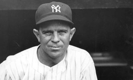 Joe Sewell of the New York Yankees strikes out for the first time on the season