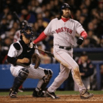 Manny cuts off Johnny Damon's throw leading to  inside park homerun