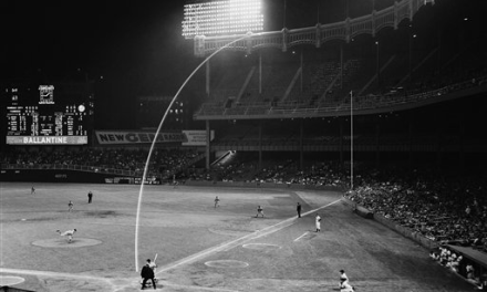 Mickey Mantle of the New York Yankees blasts one of the longest home runs in history