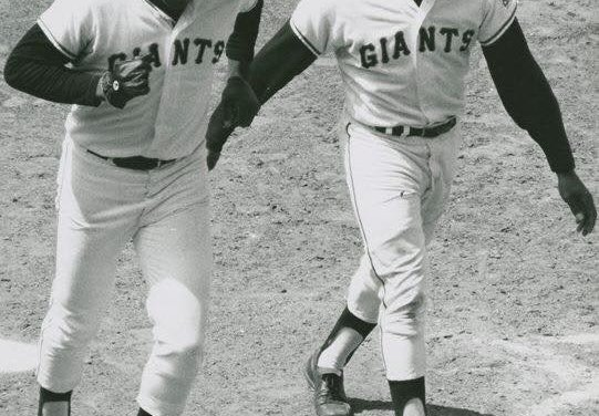 Willie Mays of the San Francisco Giants hits his 600th career home run