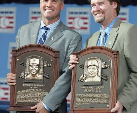 Wade Boggs, a five-timebatting champion, andRyne Sandberg, a nine-timeGold Glove Awardwinner at second base, areelectedto theHall of Fame