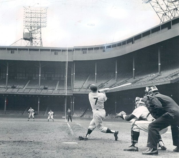 Mickey Mantle blasts home runs from both sides of the plate for the first time in his major league career