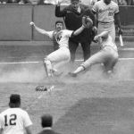 Thurman Munson of the New York Yankees collects the only hit of the game against Nolan Ryan