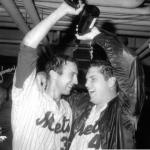 Jerry Koosman signed New York Mets B&W 16x20 Photo (1969 World Series champagne celebration with Tom Seaver)