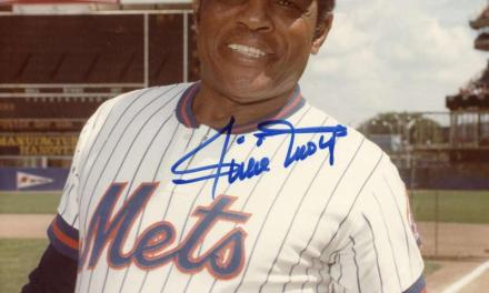 Willie Mays of the New York Mets hits the final home run of his Hall of Fame career