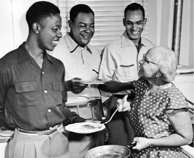 Bradenton, FL spring training 1954 Hank Aaron, Charlie White and Billy Bruton enjoyed the cooking and hospitality of Lulu Mae Gibson, because they were not allowed to stay with their teammates at the Braves players hotel!!