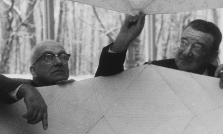 Walter OMalley shows off a domed stadium idea 1955