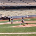 19 year old Jim Palmer on the mound at Dodger Stadium on June 6, 1965. The home team was the California Angels who would move south to Anaheim in 1966. Brooks Robinson is ready vacuum up anything that comes his way at 3rd base.