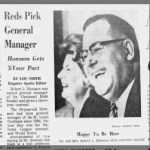 Cincinnati Reds hired 48-year-old Bob Howsam