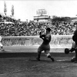 October 6, 1938 World Series..Wrigley Field in Chicago.. Game Two..Yankees vs Cubs.. Cubs pitcher Dizzy Dean faces Yankee Centerfielder Joe DiMaggio.. Yanks would win 6-3.. The last batter Dean faced for the afternoon was DiMaggio, who hit a 2-run shot in the top of the 9th, to provide the insurance needed