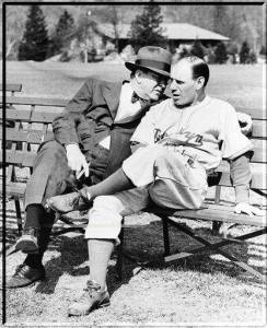 3.29.1945 - Bear Mountain State Park NY - President Branch Rickey and manager Leo Durocher hold a bench conference - or maybe he's proposing!