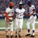 Cesar Cedeno and Billy Williams congratulate Hank Aaron after a homer in the 1972 All-Star Game in Atlanta.