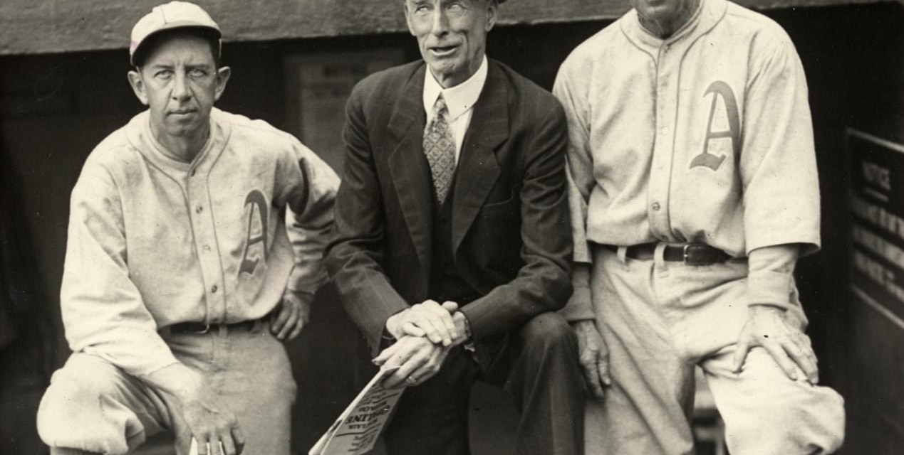 A's manager Connie Mack, who is 84 years old, challenges Clark Griffith, the 78 year-old owner of the Senators, to a foot race from third base to home plate.