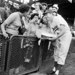 Duke Snider gets a cake from Fans on his birthday